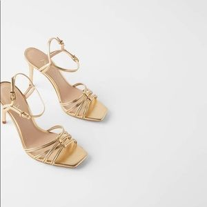New Zara Gold Heels Sandals Squared Toe Size 9